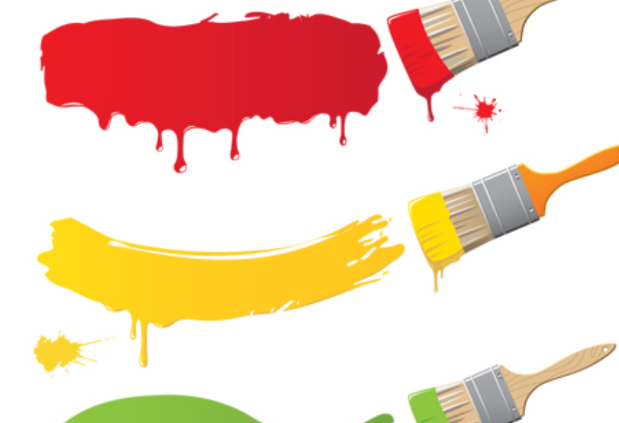 colourful paint and paint brushes